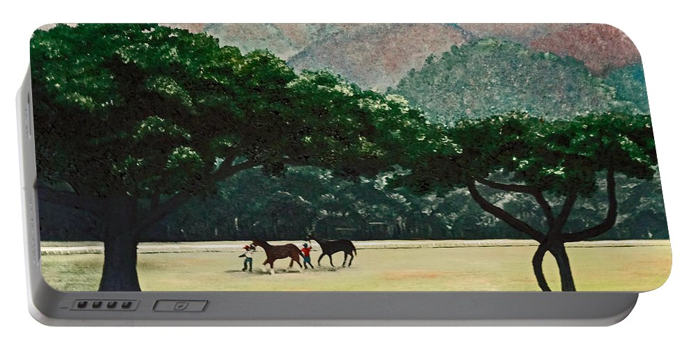 Trees Portable Battery Charger featuring the painting Early Morning Savannah by Karin Dawn Kelshall- Best