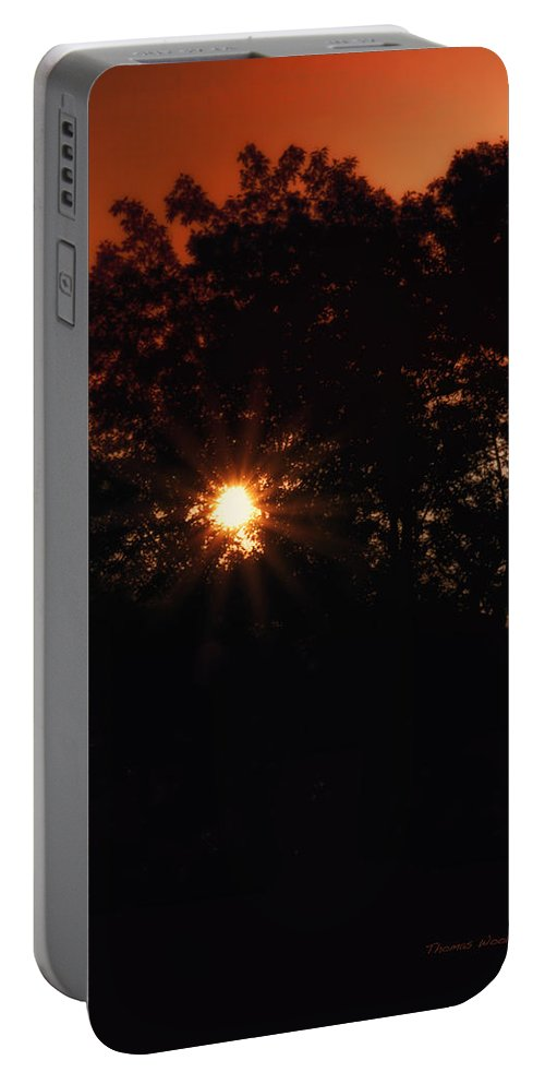 Sun Portable Battery Charger featuring the photograph Early Morning Sun Burst by Thomas Woolworth