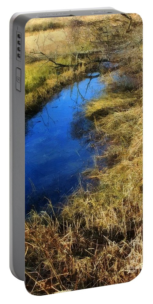 Marsh Portable Battery Charger featuring the painting Early On A Frosty Morning by RC DeWinter