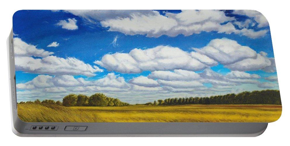 Wheat Portable Battery Charger featuring the painting Early Summer Clouds by Leonard Heid