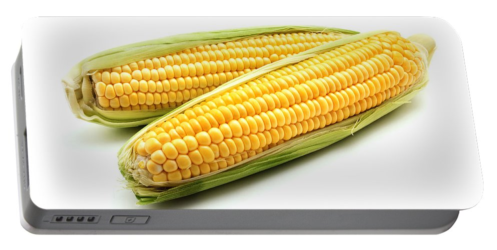 White Background Portable Battery Charger featuring the photograph Ears of maize by Fabrizio Troiani
