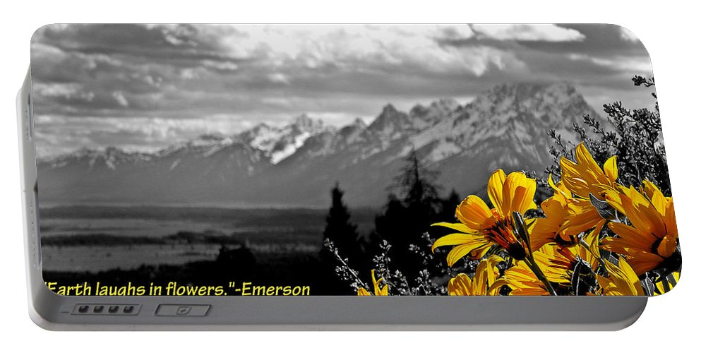 Ralph Waldo Emerson Portable Battery Charger featuring the photograph Earth Laughs In Flowers by Dan Sproul
