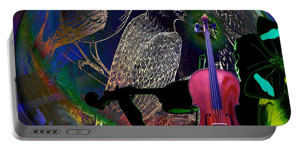 Planet Portable Battery Charger featuring the digital art Earth Melody by Joseph Mosley