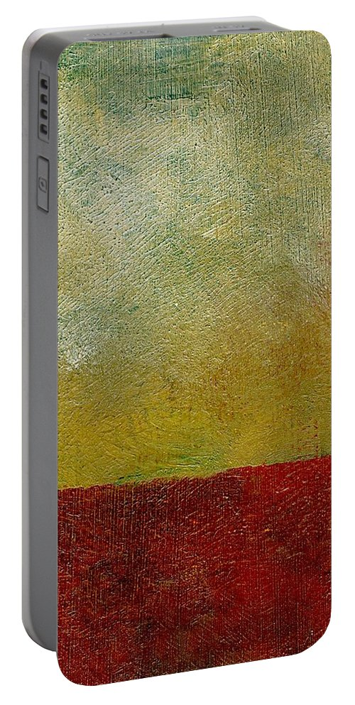 Abstract Landscape Portable Battery Charger featuring the painting Earth Study One by Michelle Calkins