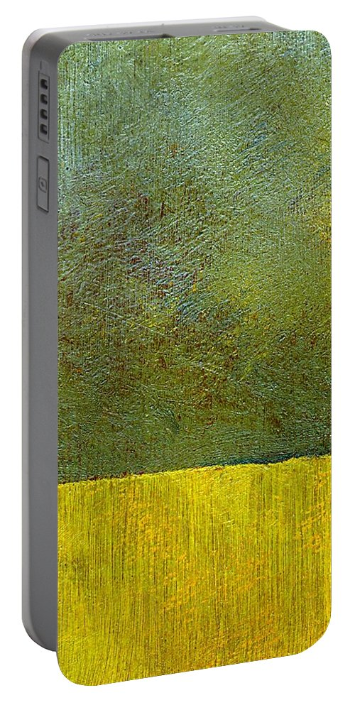 Abstract Landscape Portable Battery Charger featuring the painting Earth Study Two by Michelle Calkins