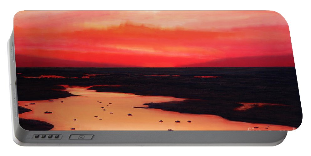 Sunset Portable Battery Charger featuring the painting Earth Swamp by Paul Meijering