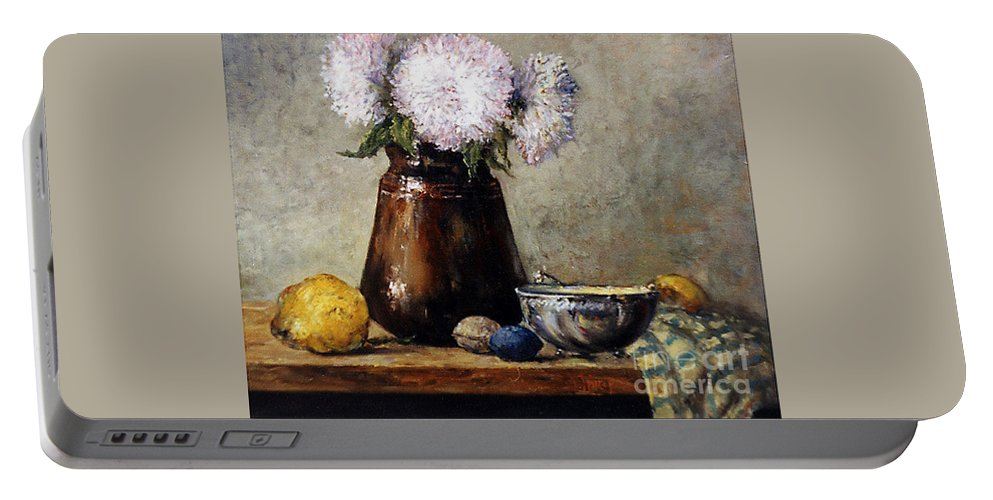 Still Life Portable Battery Charger featuring the painting Earthen Pot With Chrysanthemums by Grigor Malinov
