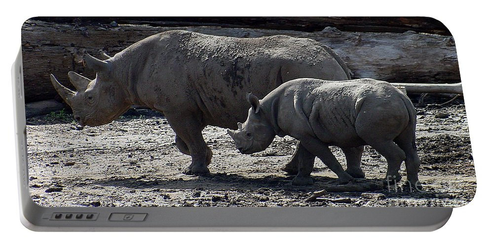 Rhino Portable Battery Charger featuring the photograph Eastern Black Rhinos Mama N Baby by Gary Gingrich Galleries