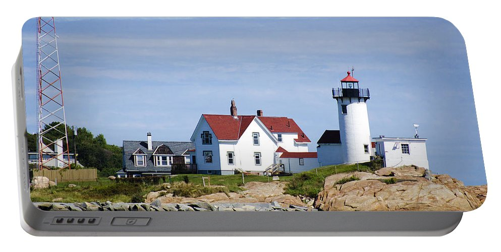 Lighthouse Portable Battery Charger featuring the photograph Eastern Point Lighthouse by Donna Doherty