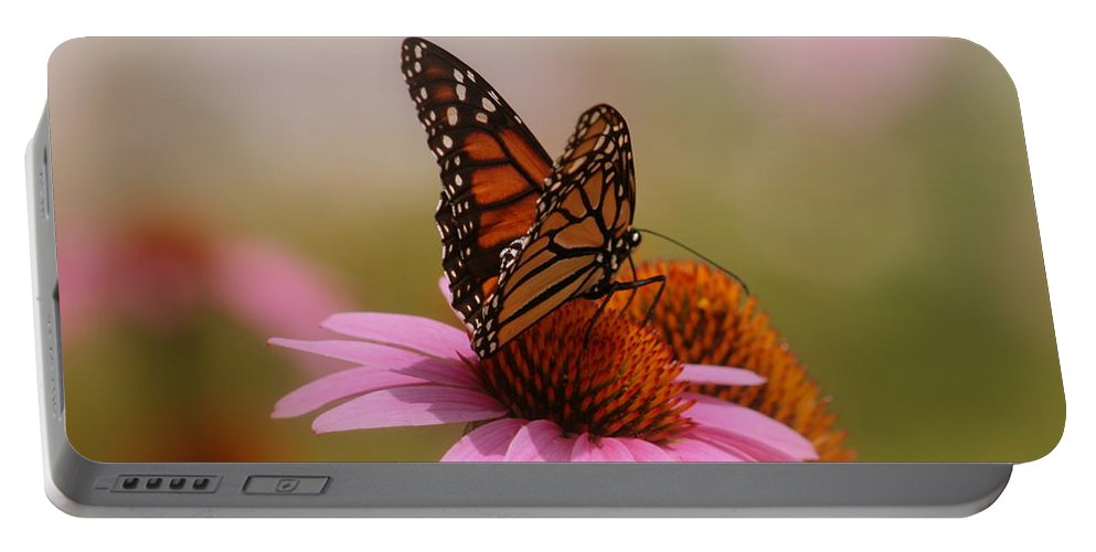 Macro Photography Portable Battery Charger featuring the photograph Easy Landing by Kay Novy