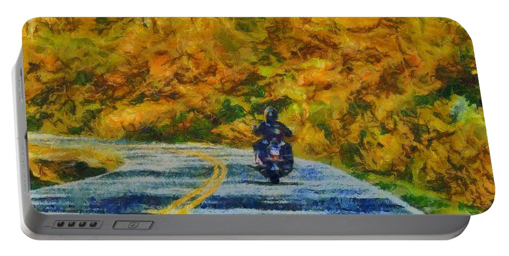 Easy Rider Portable Battery Charger featuring the painting Easy Rider by Dan Sproul