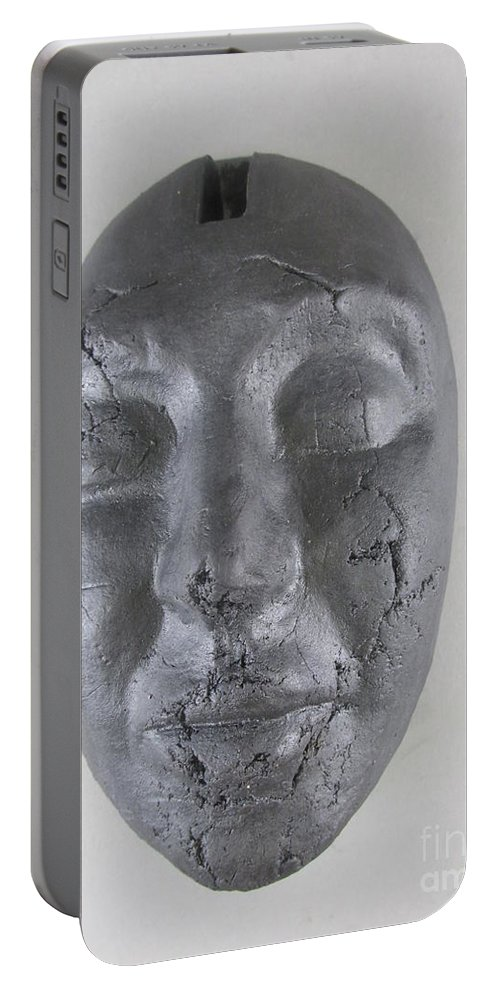 Face Portable Battery Charger featuring the sculpture Ebony Love by Anthony George