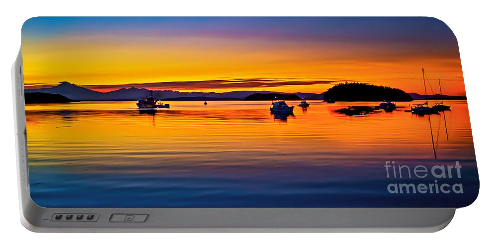 San Juan Island Portable Battery Charger featuring the photograph Echo Bay Sunset by Robert Bales