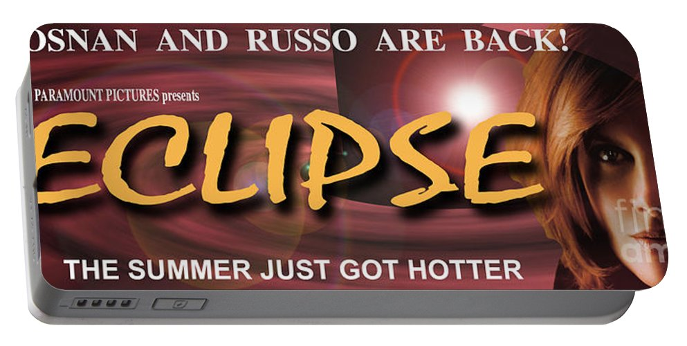 Banner Portable Battery Charger featuring the photograph Eclipse Faux Movie Banner by Mike Nellums