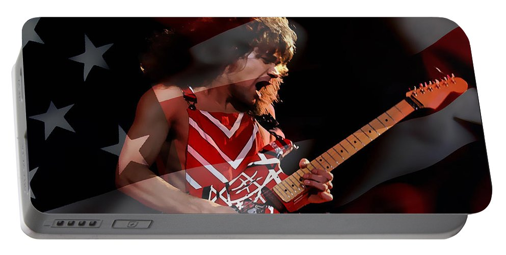 Van Halen Paintings Mixed Media Portable Battery Charger featuring the mixed media Eddie Van Halen by Marvin Blaine