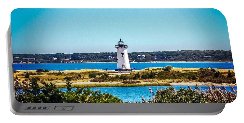 New England Portable Battery Charger featuring the photograph Edgartown Lighthouse by DAC Photo