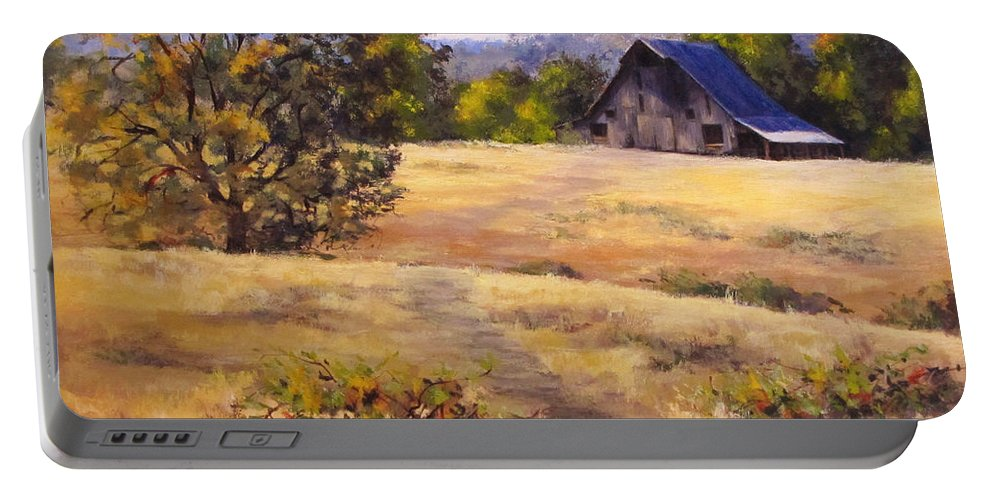 Landscape Portable Battery Charger featuring the painting Edge of Autumn by Karen Ilari