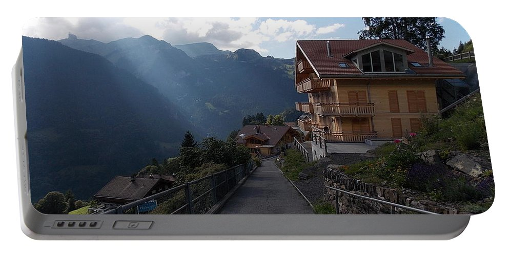 Edge Portable Battery Charger featuring the photograph Edge Of Wengen by Nina Kindred