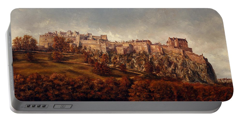 Edinburgh Portable Battery Charger featuring the painting Edinburgh Castle by Miroslav Stojkovic - Miro