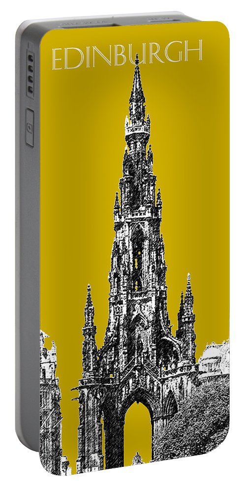 Architecture Portable Battery Charger featuring the digital art Edinburgh Skyline Scott Monument - Gold by DB Artist