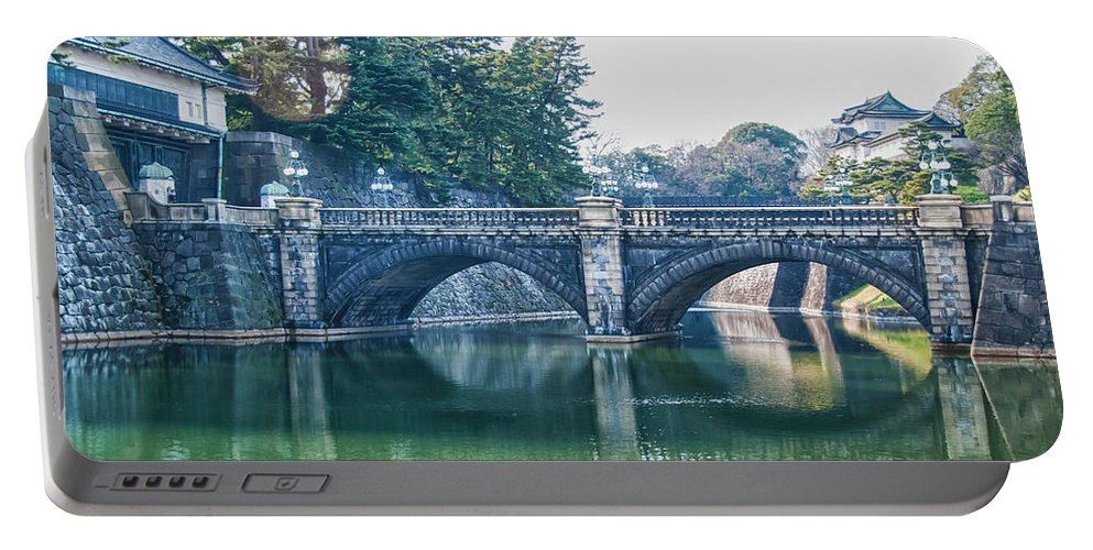Edo Castle Portable Battery Charger featuring the photograph Edo Castle And Nijubashi Bridge by Guy Whiteley