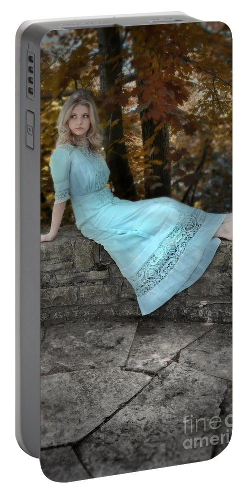 Woman Portable Battery Charger featuring the photograph Edwardian Girl On A Stone Wall by Jill Battaglia