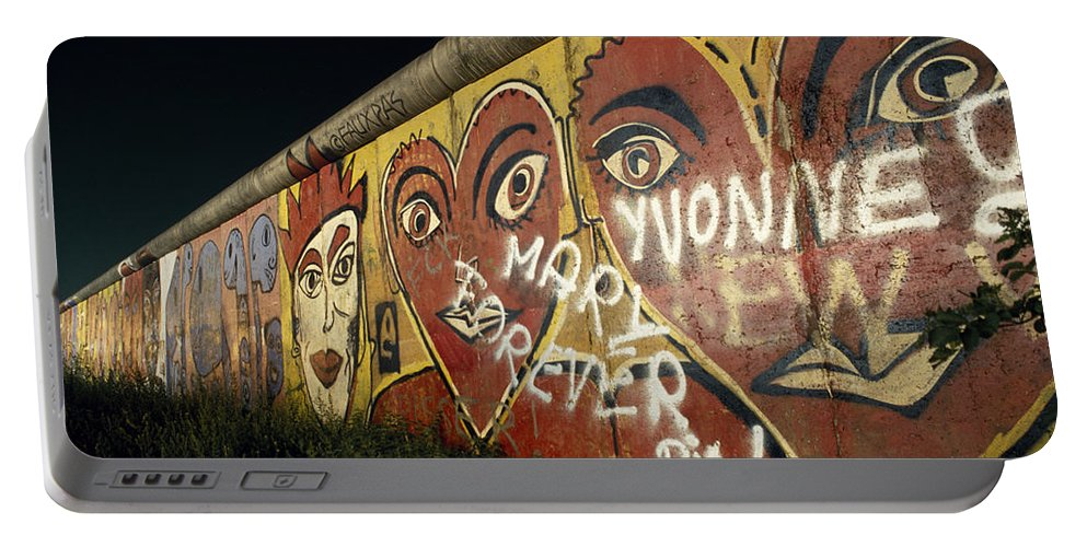 Berlin Wall Portable Battery Charger featuring the photograph Berlin Wall Hearts by Shaun Higson