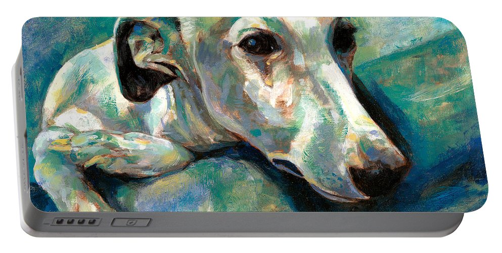 Whippet Paintings Portable Battery Charger featuring the painting Effects Of Gravity 1 by Derrick Higgins