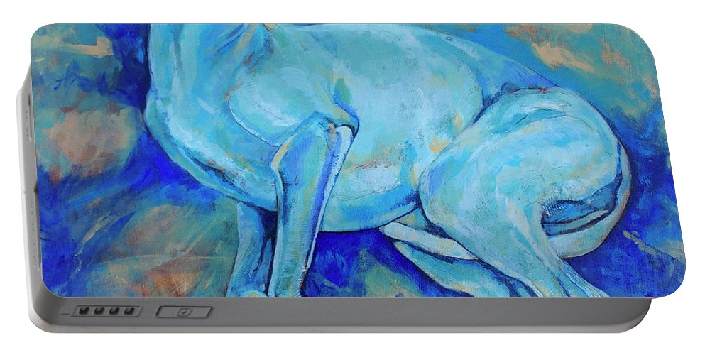 Dog Portable Battery Charger featuring the painting Effects Of Gravity-2 by Derrick Higgins