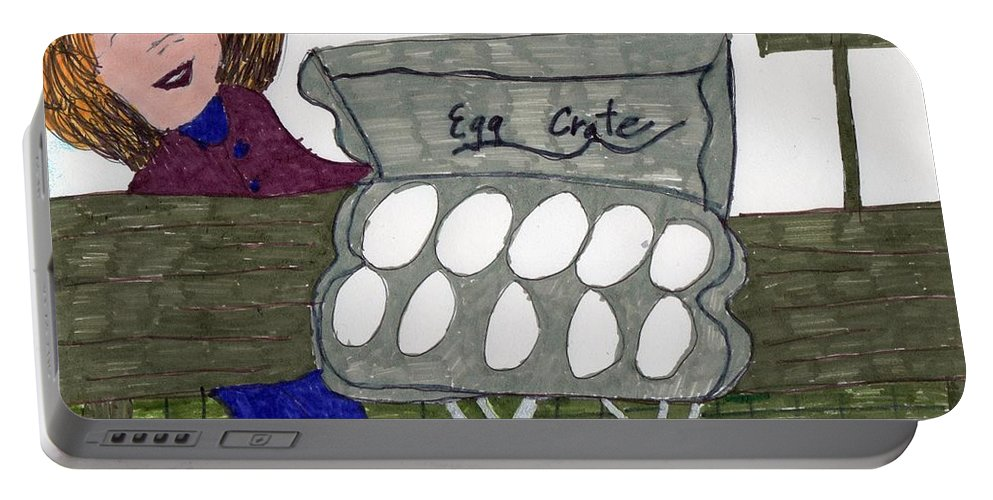Egg Crate With Lady Shopping Portable Battery Charger featuring the mixed media Egg Crate by Elinor Helen Rakowski