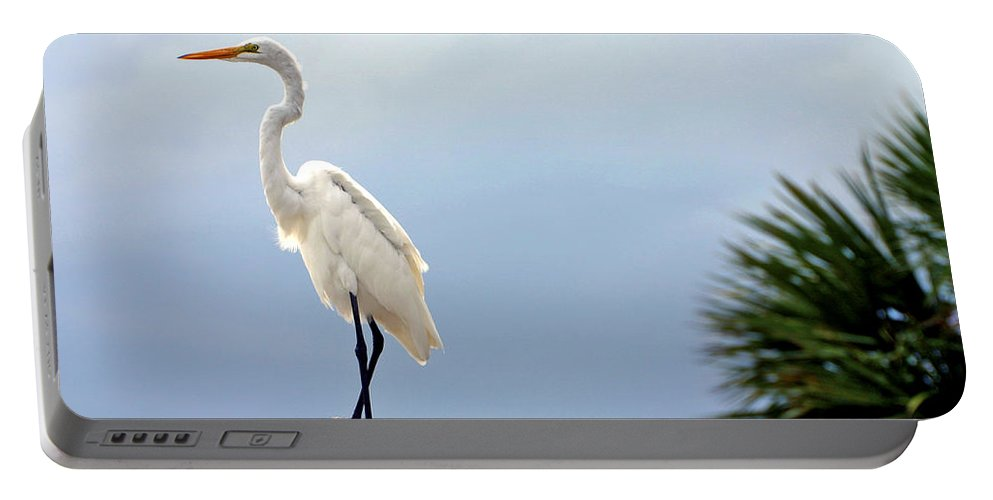 Egret Portable Battery Charger featuring the photograph Egret And Tree by Scott Mahon