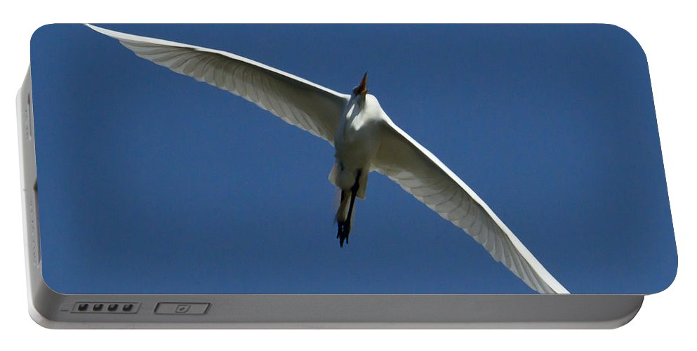 Egret Portable Battery Charger featuring the photograph Egret In Flight  #6749 by J L Woody Wooden