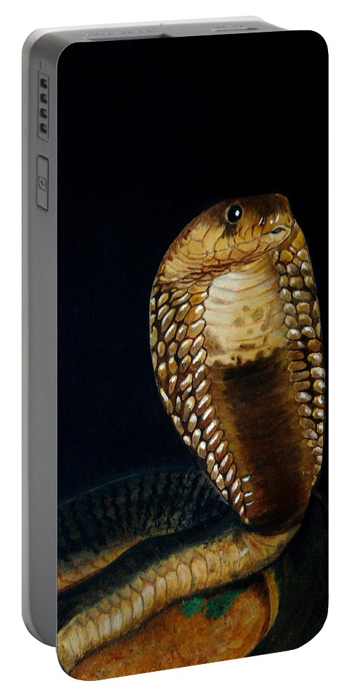 Snake Portable Battery Charger featuring the painting Egyptian Cobra by Tracey Beer