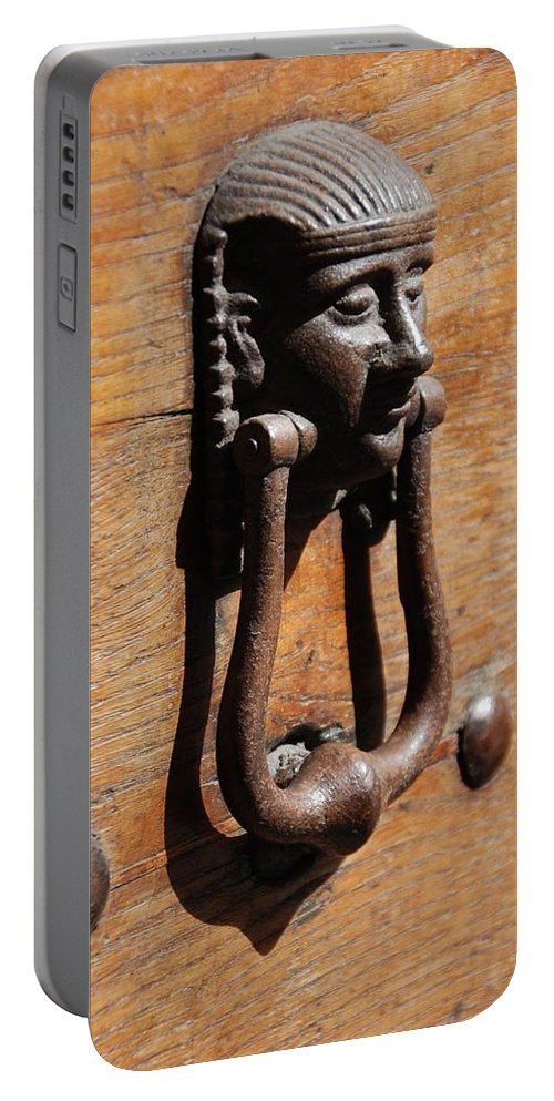 Door Knocker Portable Battery Charger featuring the photograph Egyptian Door Knocker by Eric Tressler