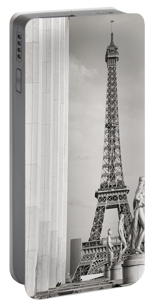 Eiffel Tower Portable Battery Charger featuring the photograph Eiffel Tour Paris Black And White by For Ninety One Days