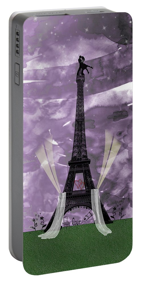 Love Portable Battery Charger featuring the digital art Eiffel Tower - Paris - Love by Becca Buecher