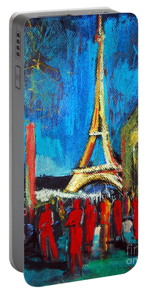 Eiffel Tower And The Red Visitors Portable Battery Charger featuring the painting Eiffel Tower And The Red Visitors by Mona Edulesco