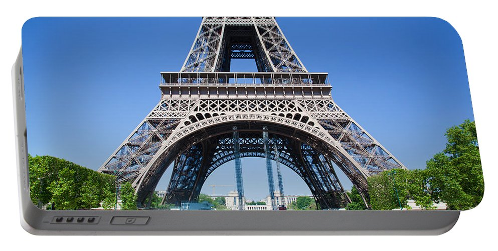 Eiffel Portable Battery Charger featuring the photograph Eiffel Tower Lower Part Paris by Michal Bednarek