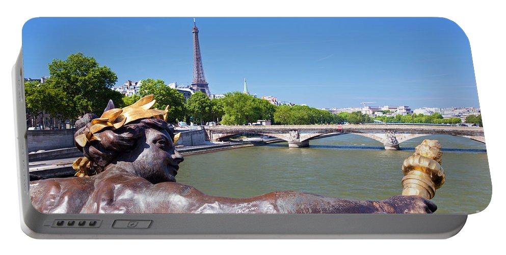 Paris Portable Battery Charger featuring the photograph Eiffel Tower Paris France by Michal Bednarek