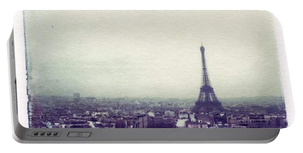 Eiffel Tower Portable Battery Charger featuring the photograph Eiffel Tower Paris Polaroid transfer by Jane Linders