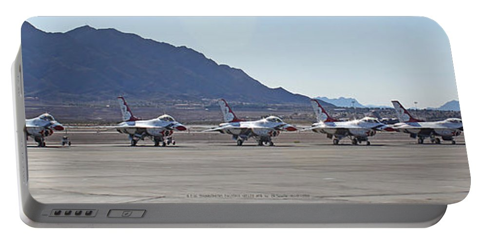 F16s Portable Battery Charger featuring the photograph Eight F-16 Thunderbird Falcon's On Static Display Nellis by Carl Deaville