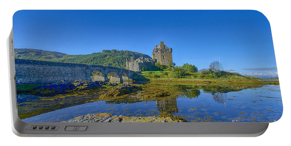 Scotland Canvas Portable Battery Charger featuring the photograph Eilean Donan Reflections by Chris Thaxter