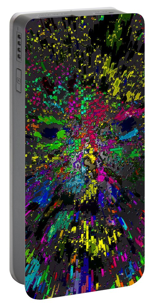 Einstein Portable Battery Charger featuring the painting Einsteins Exploding Head by David Lee Thompson