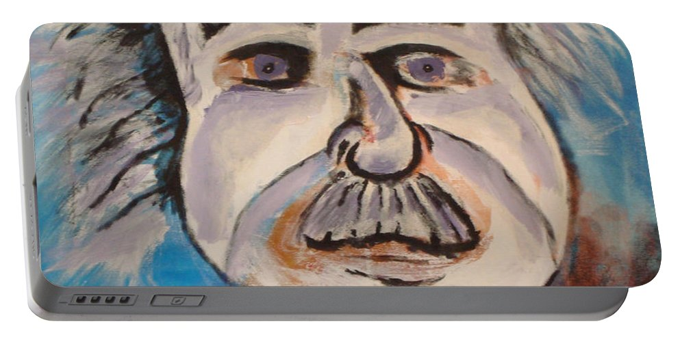 Rick Huotari Portable Battery Charger featuring the painting Einstein by Rick Huotari