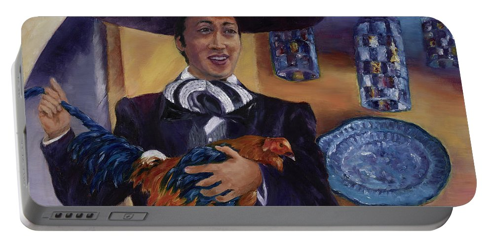 Gallero Portable Battery Charger featuring the painting El Gallero by Maria Gibbs