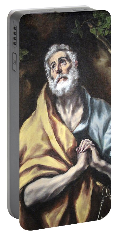 The Portable Battery Charger featuring the photograph El Greco's The Repentant Saint Peter by Cora Wandel
