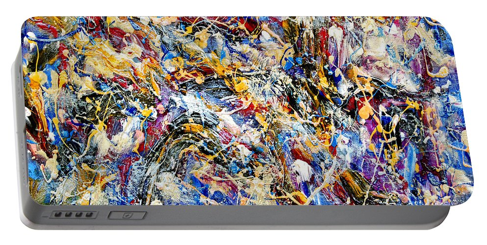 Abstract Portable Battery Charger featuring the painting Eldorado by Dominic Piperata