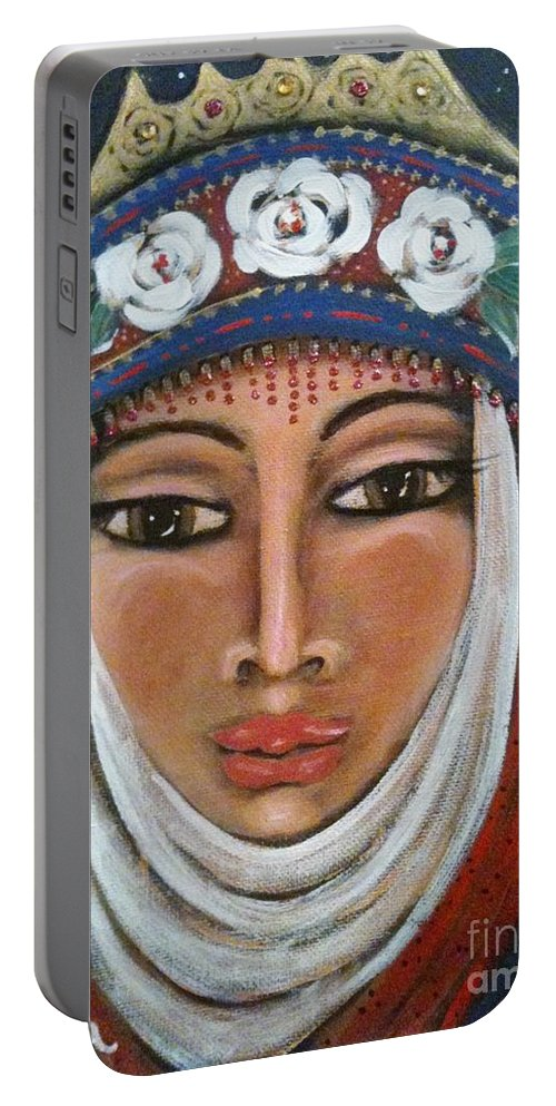 Energy Portable Battery Charger featuring the painting Eleanor Of Aquitaine The Lioness In Winter by Maya Telford