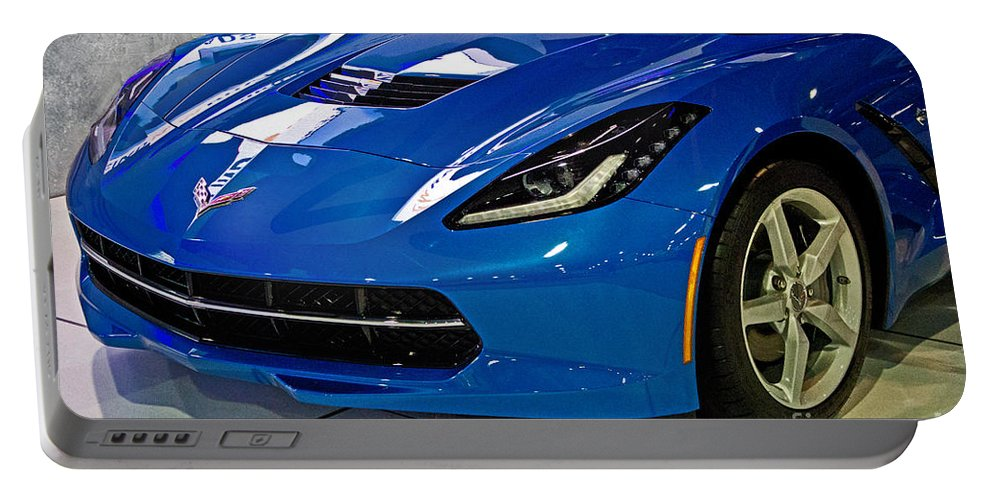 2014 Portable Battery Charger featuring the photograph Electric Blue Corvette by Tom Gari Gallery-Three-Photography