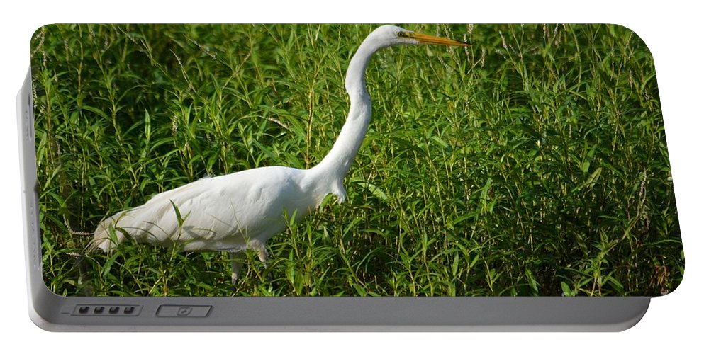 Great Egret Portable Battery Charger featuring the photograph Elegant Hunter by Deanna Cagle